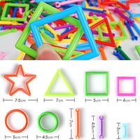 Approx 360PCS Novelty Creative Plastic DIY Smart Intelligence Stick 3D Assembly Building Blocks Construction Educational Toys Set Shape Color