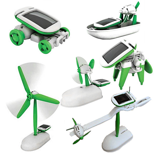 6 in 1 Solar DIY Educational Kit Toy Boat Fan Car Windmill Puppy Plane