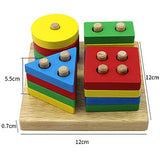 Educational Toy Wooden Puzzles Wooden Cylindrical Triangle Rectangle