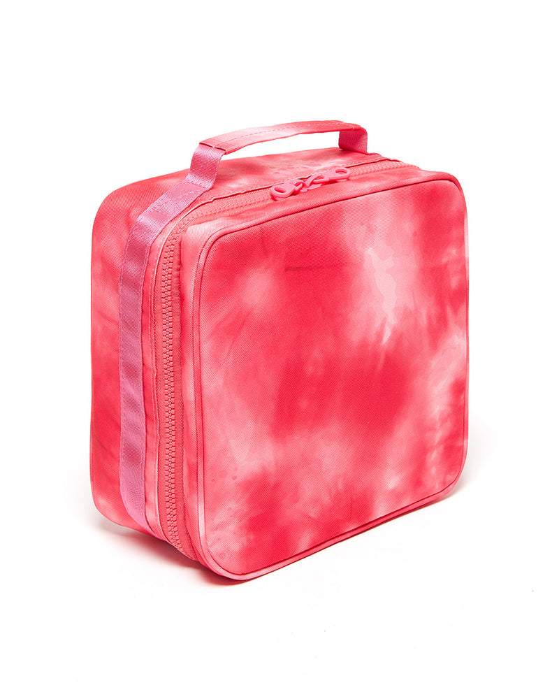 What's For Lunch? Square Lunch Bag - Hot Pink Tie Dye