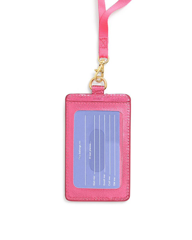 Keep It Close Card Case with Lanyard - Metallic Pink
