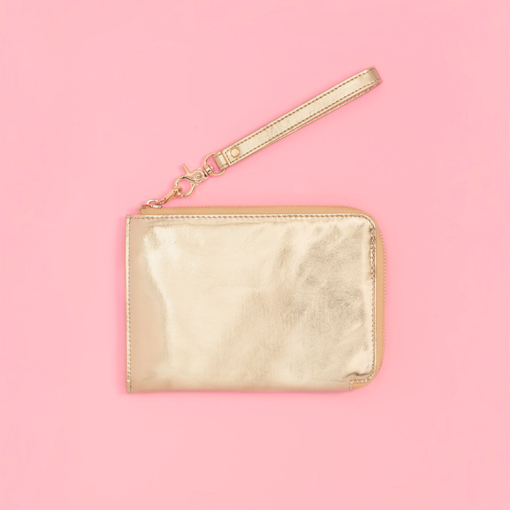 The Getaway Travel Clutch - Metallic Gold