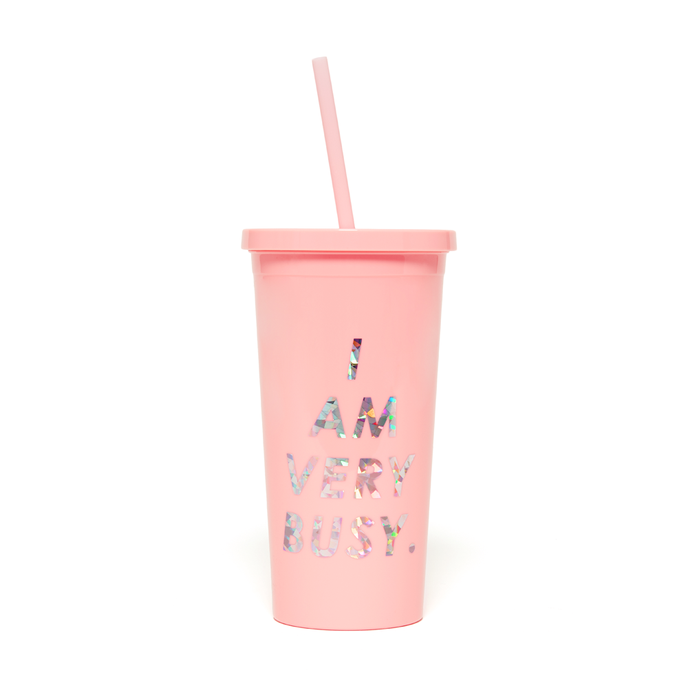 Sip Sip Tumbler - I Am Very Busy (Pink)