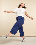 Script Wide Leg Sweatpant - True Navy