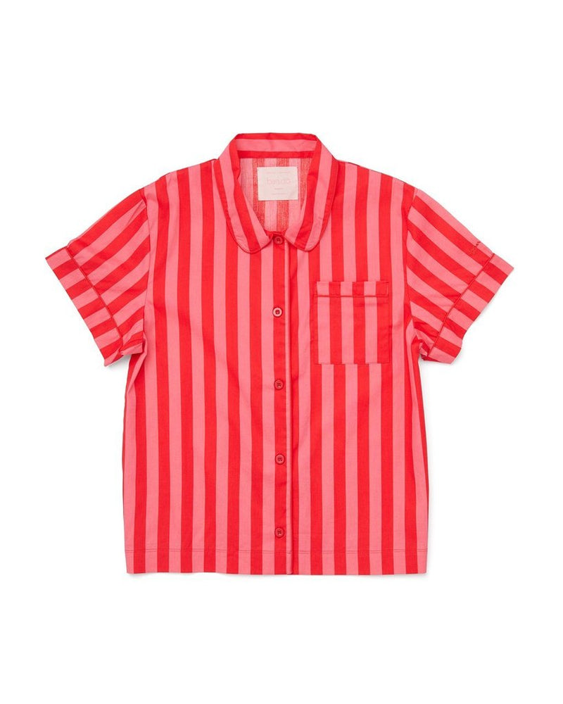 Short Sleeve Leisure Shirt - Hot Pink/Red Stripe