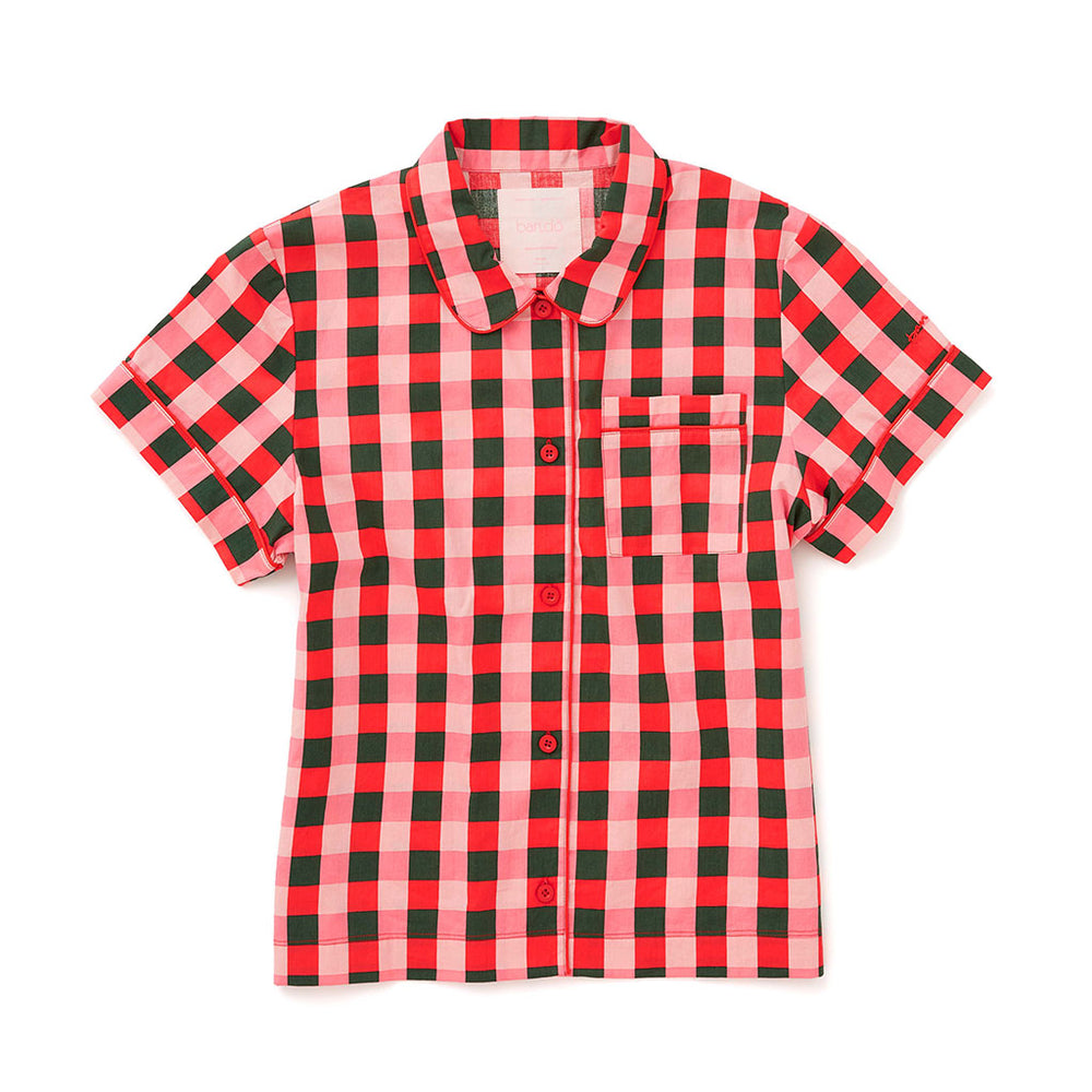 Leisure Club - Buffalo Plaid Short Sleeve Sleep Top