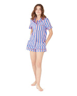 Leisure Club - Indigo & Sleepy Pink Short Sleeve Sleep Top