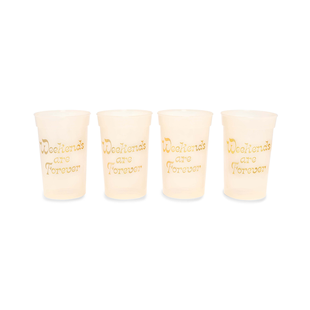 Party On Plastic Cup Set - Weekends Are Forever