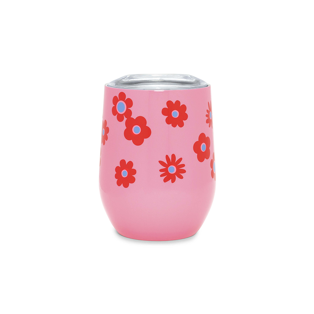 Stainless Steel Wine Glass With Lid - Daisy