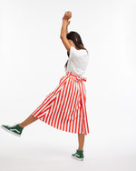 Easy Wrap Skirt - Red & Ivory Stripe
