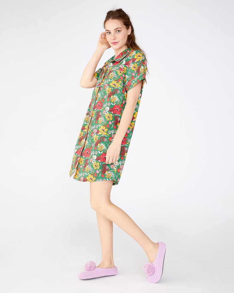 Short Sleeve Leisure Dress, Superbloom Emerald
