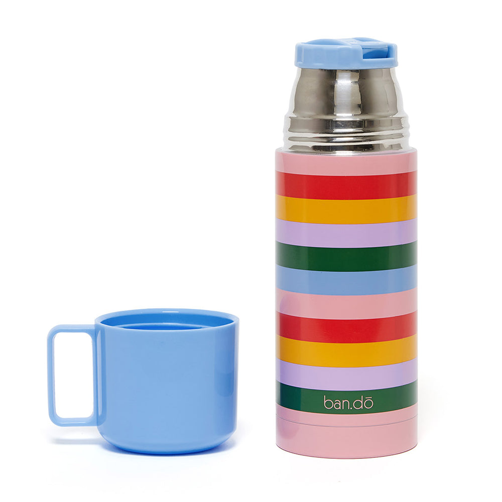 Stainless Steel Thermal Mug with Cup - Rainbow