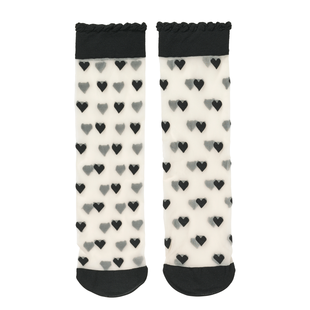 Dagmar Hearts Socks - Black