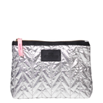 Lola Metallic Make Up Bag - Silver