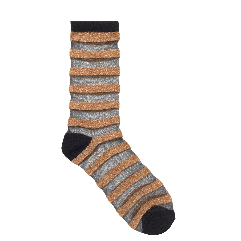 Dagmar Stripe Glitter Socks - Gold