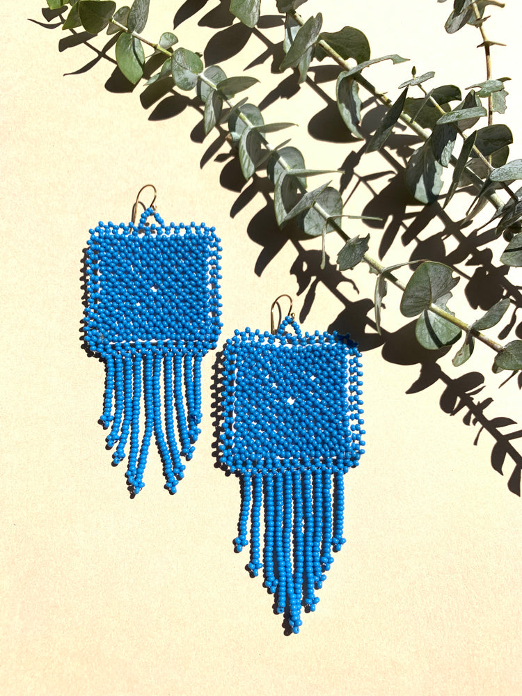Chloe Beaded Earrings - Blue Pop