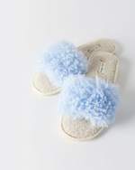 Lola Faux Fur Slippers - Baby Blue
