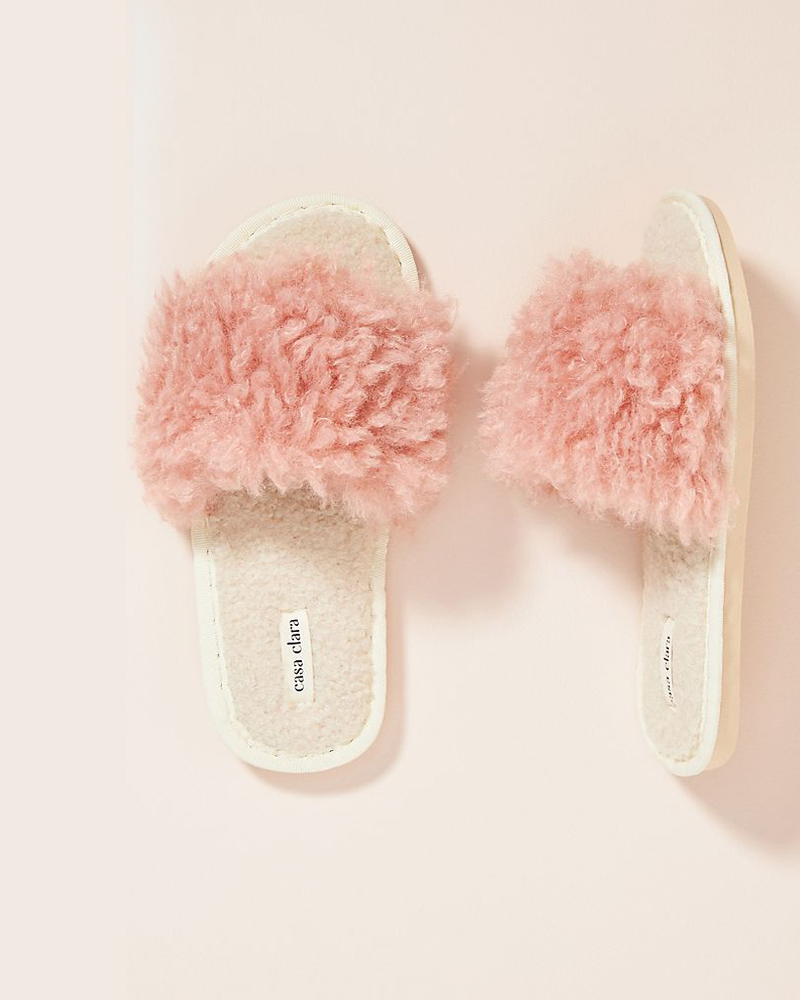 Lola Faux Fur Slippers - Pink