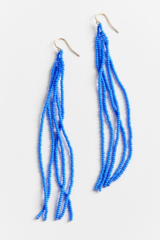 Luna Beaded Earrings - Blue Pop