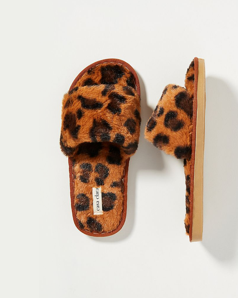 Maile Faux Fur Slippers - Dark Coco Spot