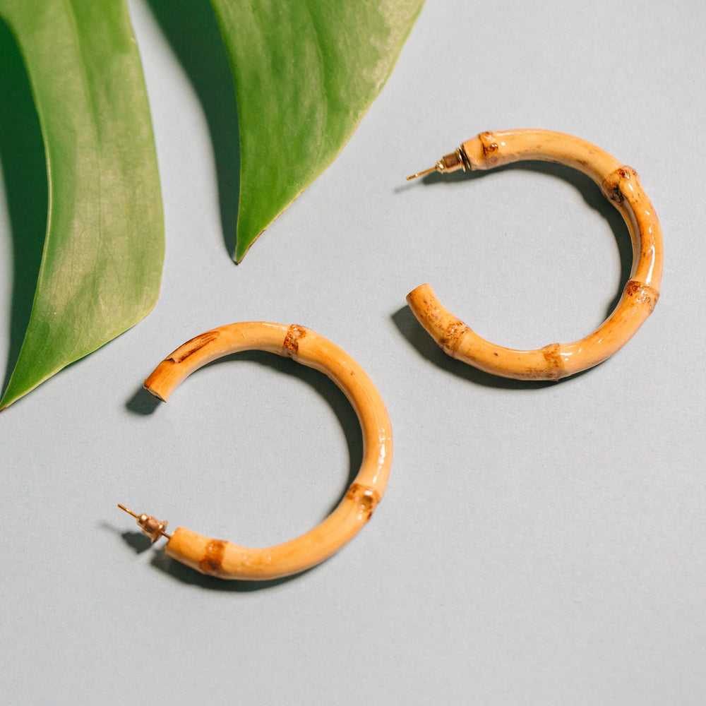 Sadie Bamboo Hoops - Natural