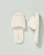Sage Faux Fur Slippers - Cream