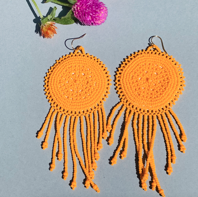 Sophie Beaded Earrings - Clementine