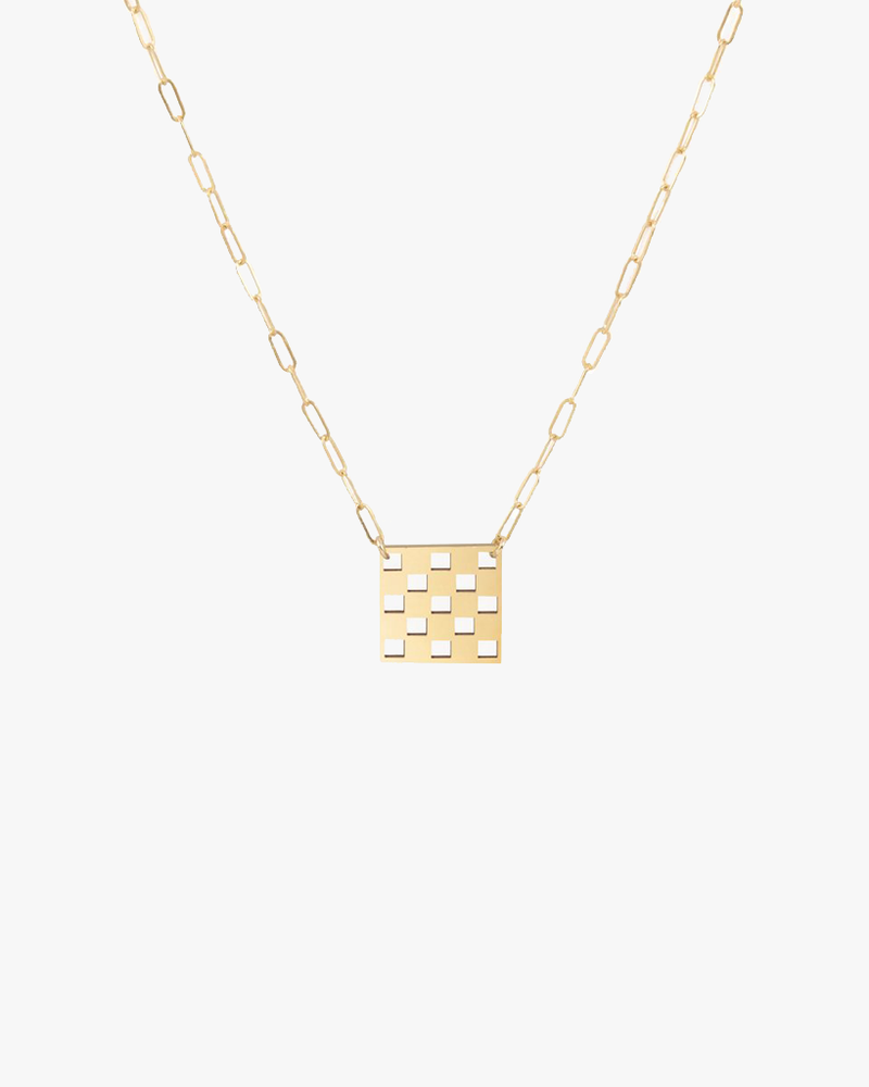 Checkered Necklace - Gold