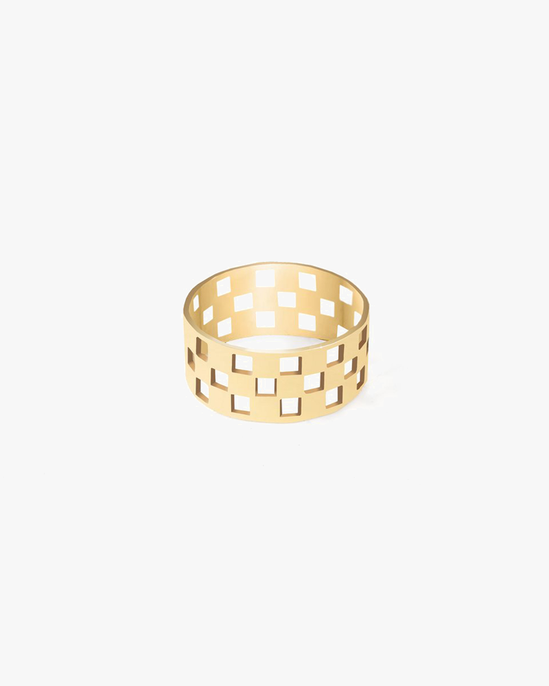 Checkered Ring - Gold