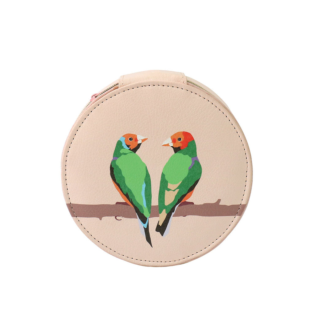 Travel Jewellery Case - Parakeet Birds