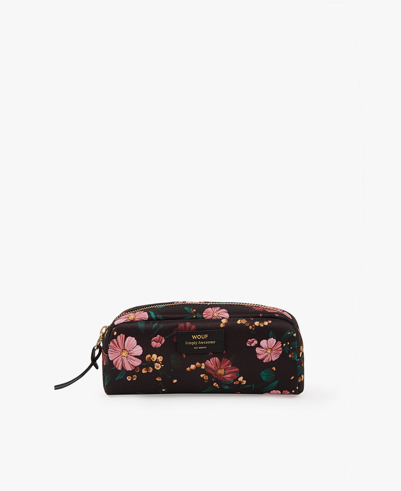 Small Make-Up Pouch - Black Flowers