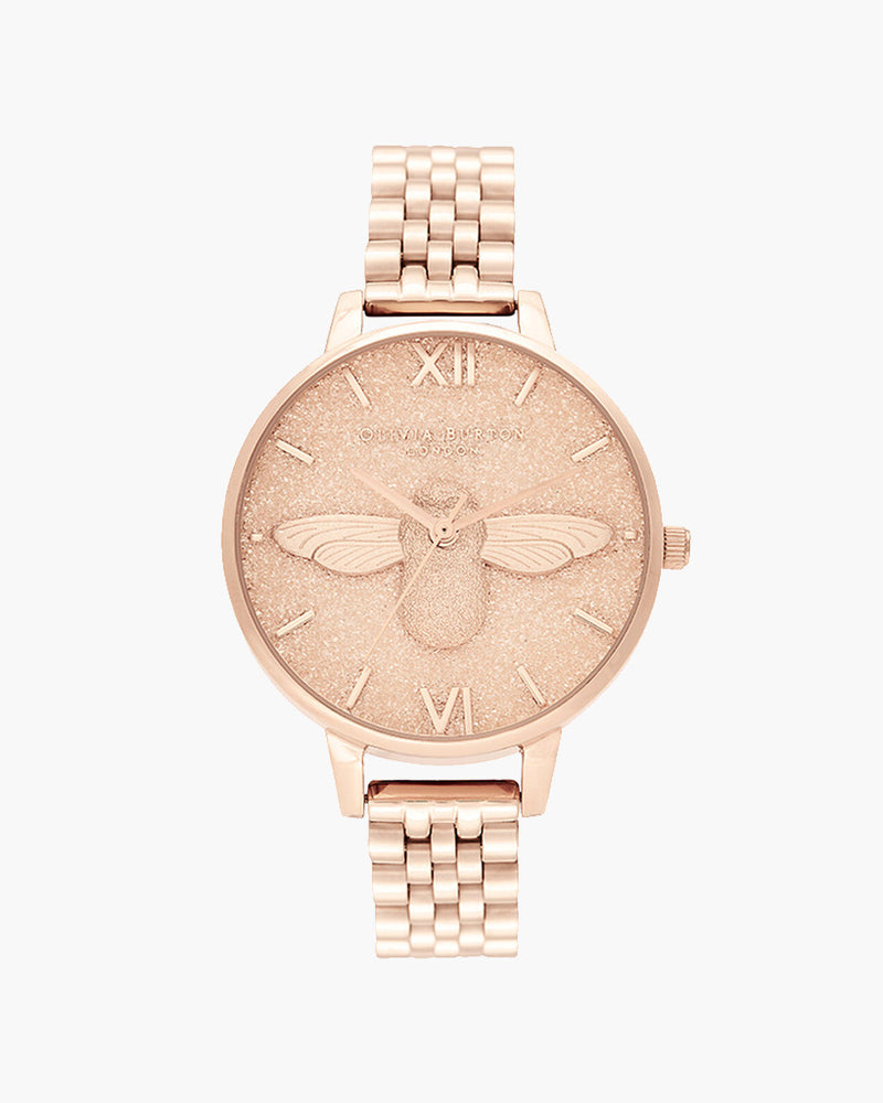 Glitter Dial - 3D Bee Pale Rose Gold