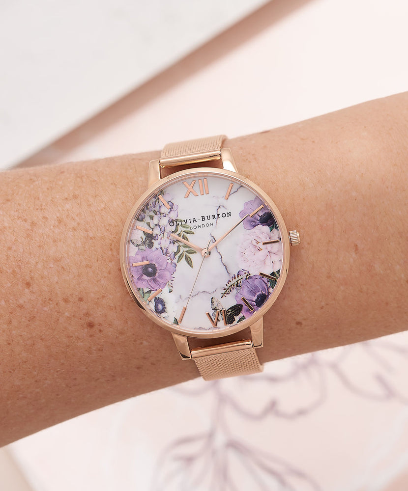 Marble Floral - Rose Gold Mesh