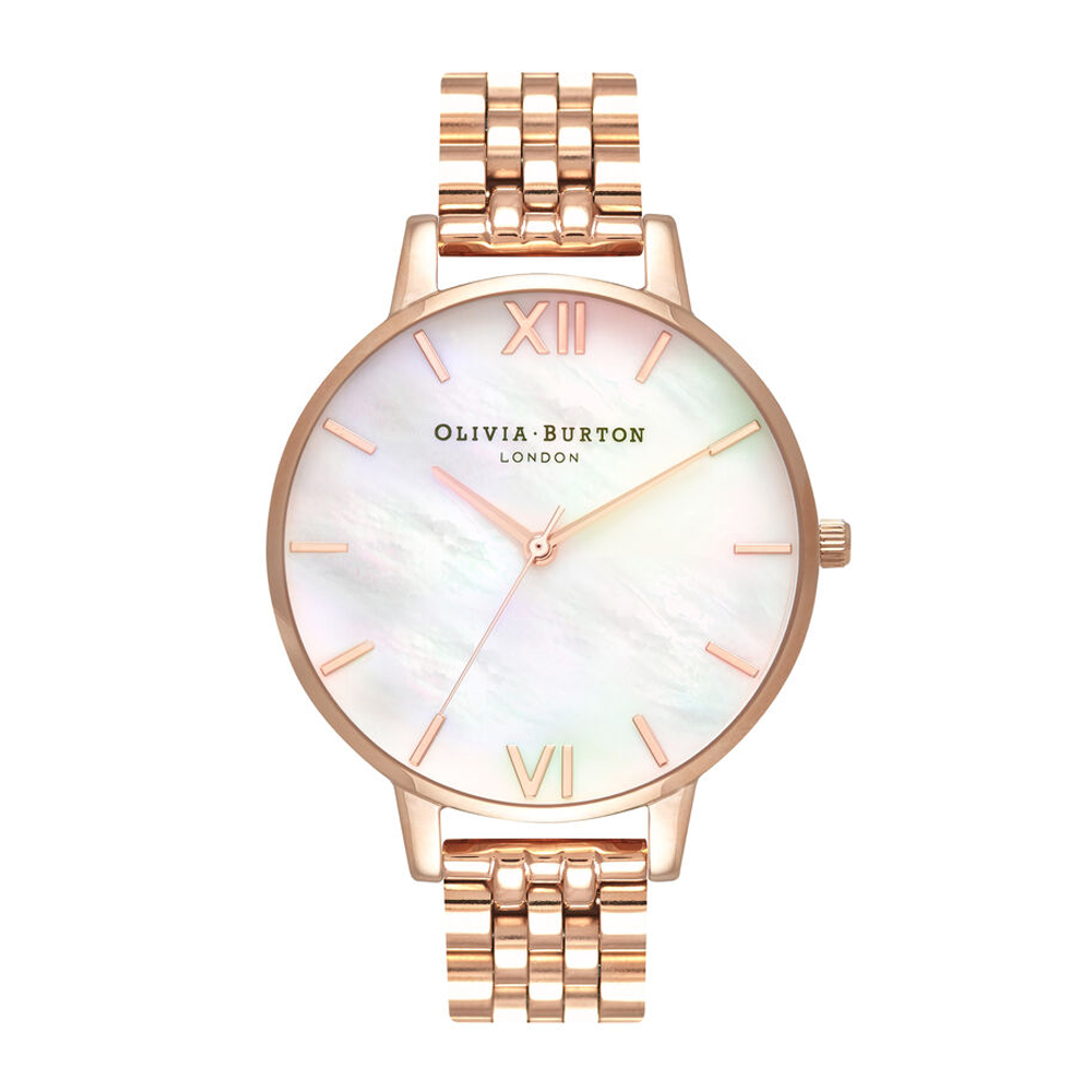 Mother Of Pearl Bracelet - Big Dial Rose Gold