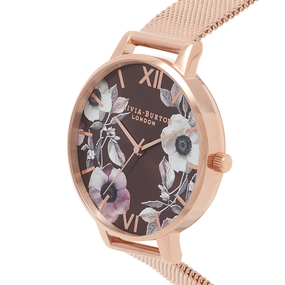 Poppy - Brown Dial & Rose Gold Mesh