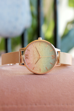 Glitter Dial - Rainbow & Rose Gold Mesh