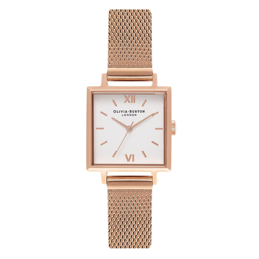 Midi Square Dial - Rose Gold Mesh