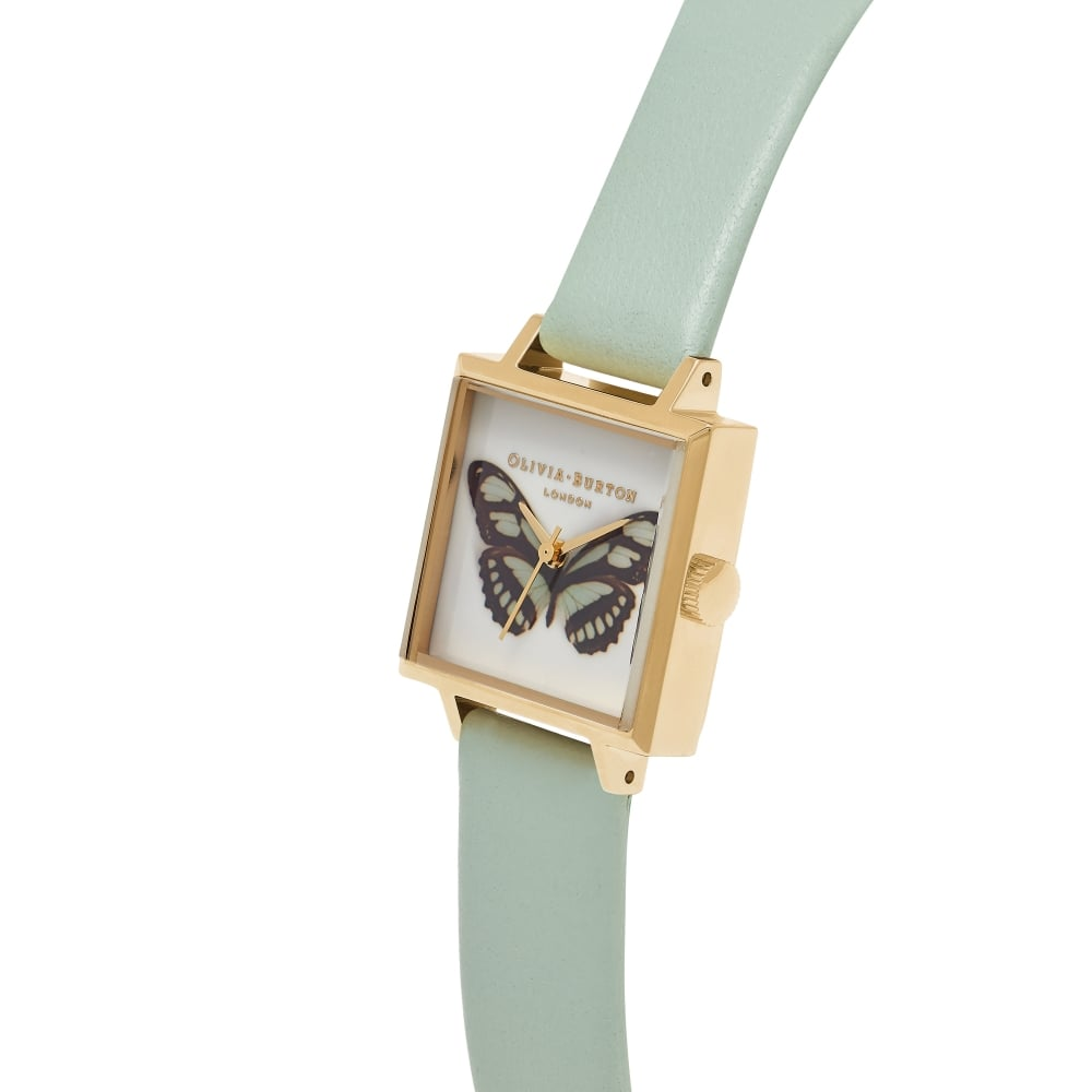 Woodland Square Dial Butterfly - Mint & Gold