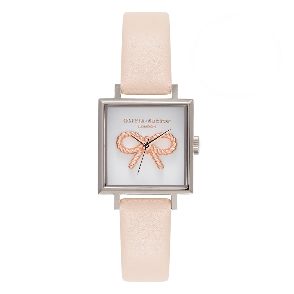 3D Vintage Bow Square Dial - Nude Peach