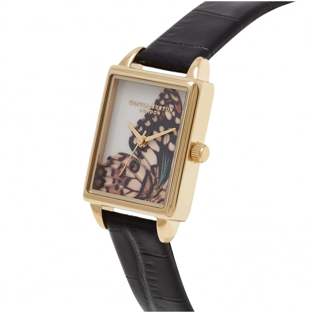 Woodland Rectangular Dial - Black & Gold