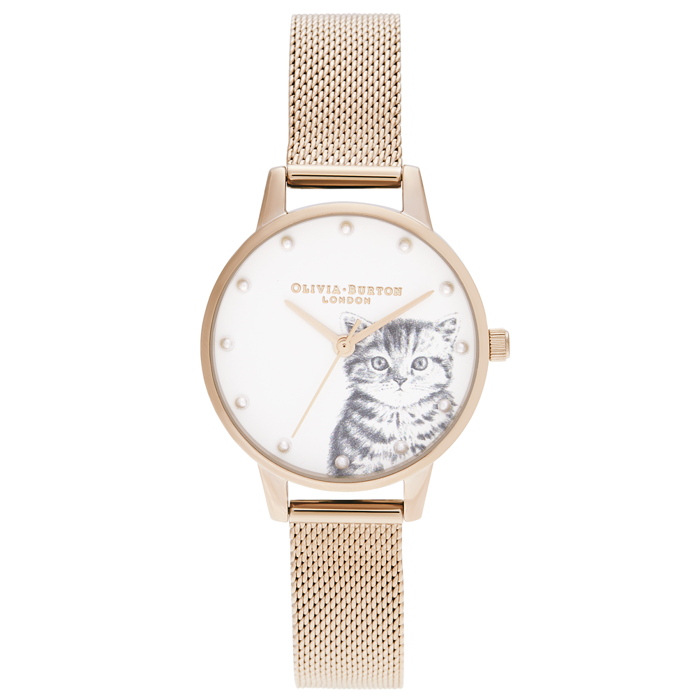 Illustrated Animals - Pearly Kitten Mesh Rose Gold