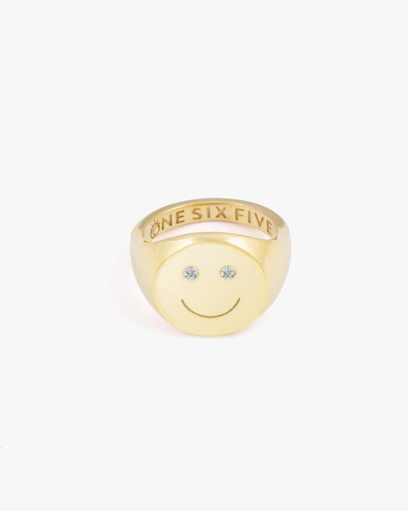 Smiley Signet Ring - Gold