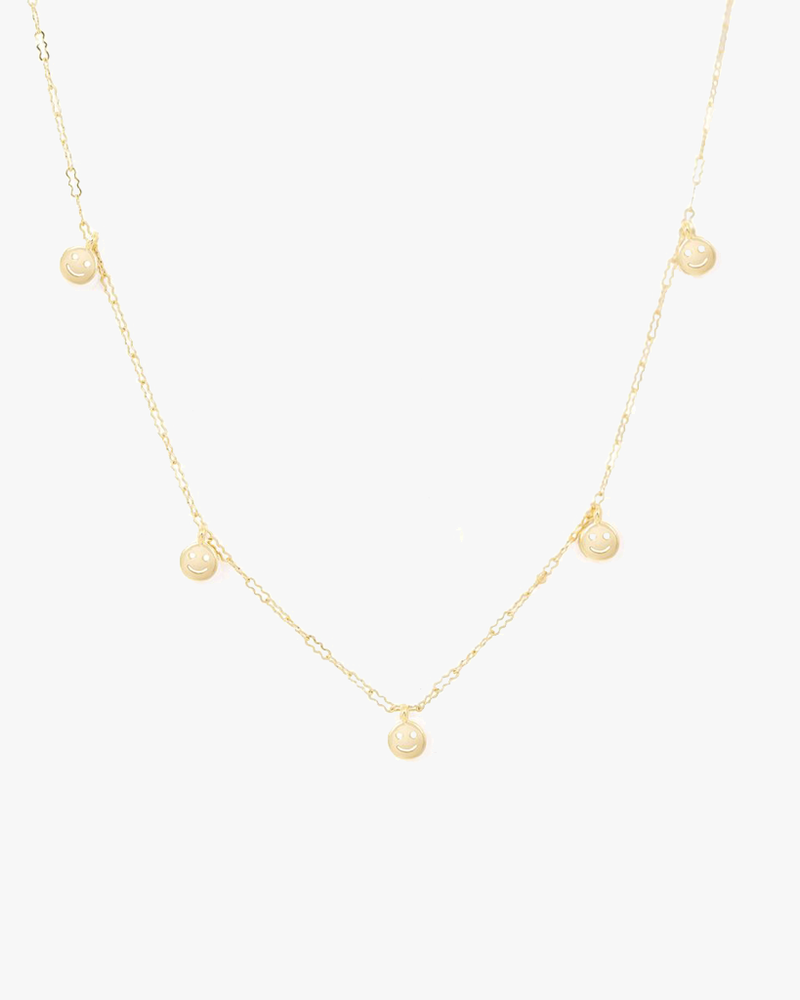 Super Smiley Face Necklace - Gold