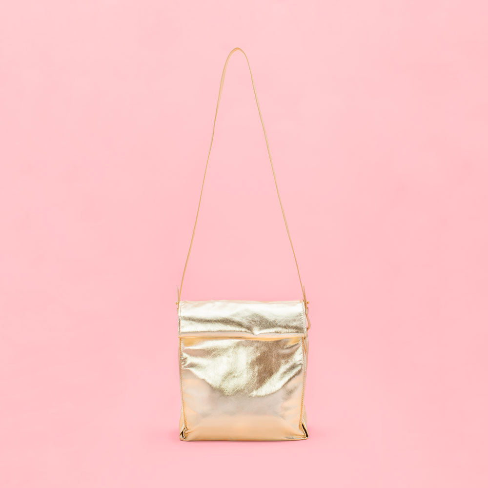 What's For Lunch Crossbody Bag - Metallic Gold