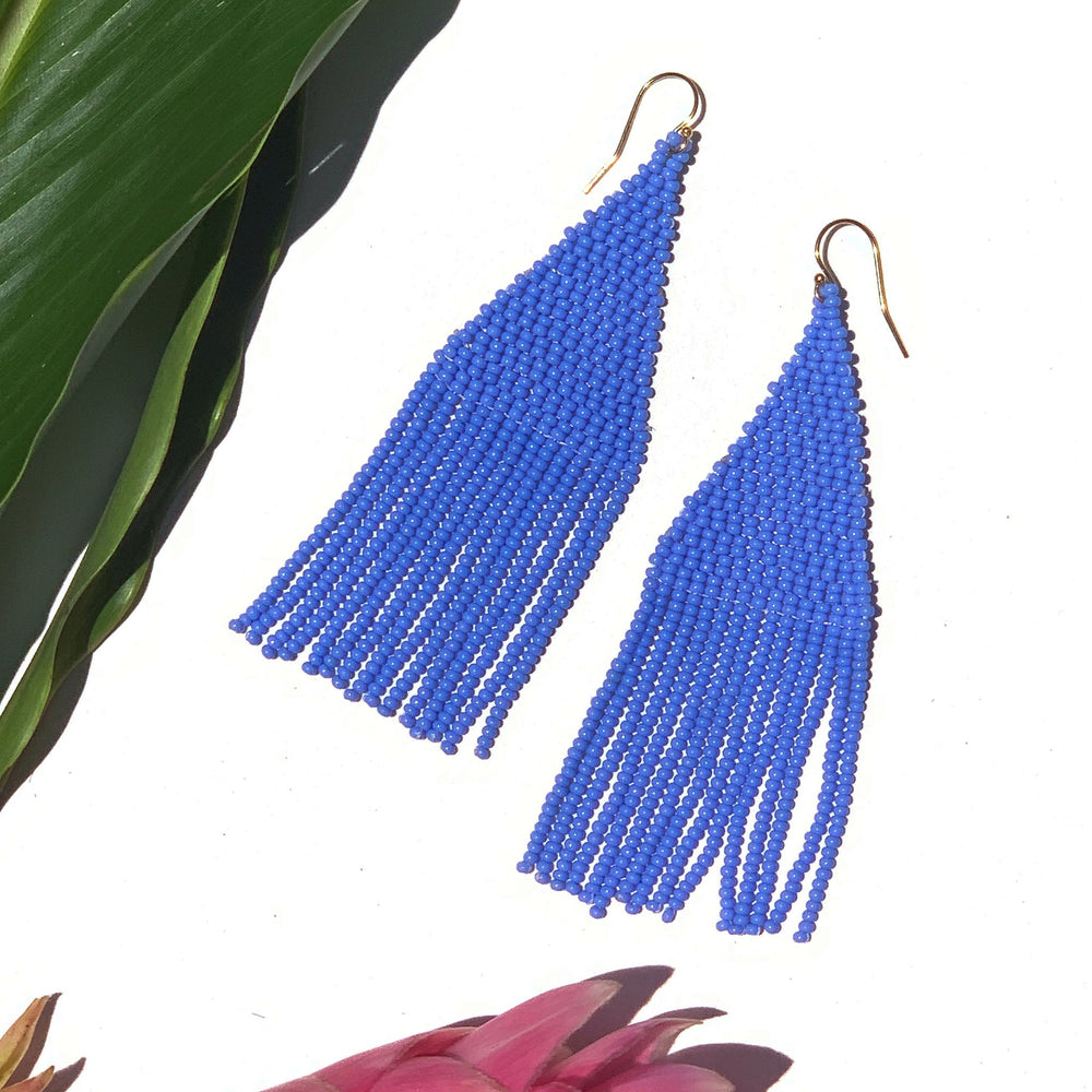 Freesia Beaded Earrings - Periwinkle