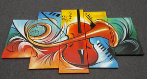 Painting Samples of Violin Musical Instruction Painting, 5 Piece Canvas Art