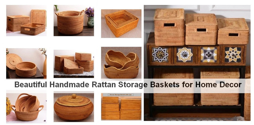Beautiful Rattan Storage Baskets, Wicker Storage Baskets, Rectangular Storage Basket for Shelves, Round Storage Baskets for Kitchen and Bathroom