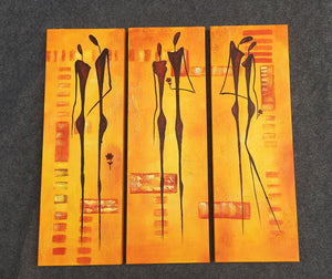 Painting Sample of Abtract Figure Art, Canvas Painting, 3 Piece Wall Art