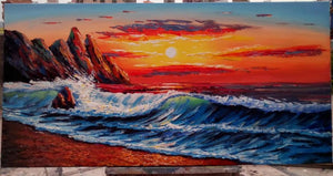 Seascape Big Wave Painting Sunrise Painting 24x48 inch