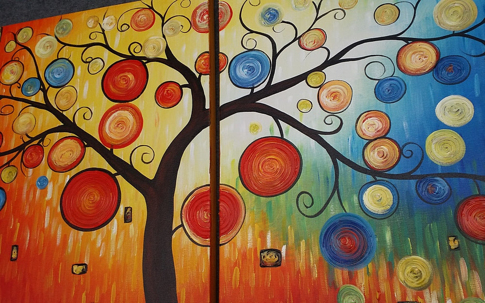 Painting Samples of Tree of Life Painting, Canvas Painting, Large Oil Painting, Living Room Wall Art